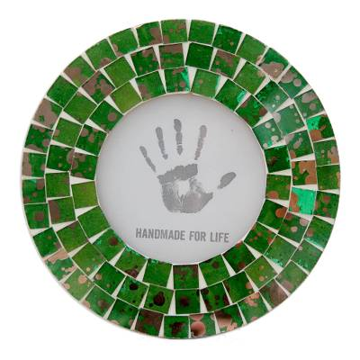 4 x 4 Green Glass Handcrafted Indian Mosaic Picture Frame