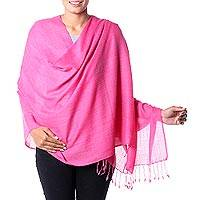 Wool blend shawl, 'Pink Diamond Fantasy' - Indian Shawl Wool Blend Wrap Diamond Pattern in Pink