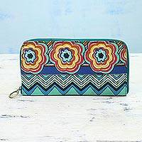 Cotton travel jewelry case, 'Jewelry Haven' - Hand Made Cotton Travel Jewelry Case with Zipper from India