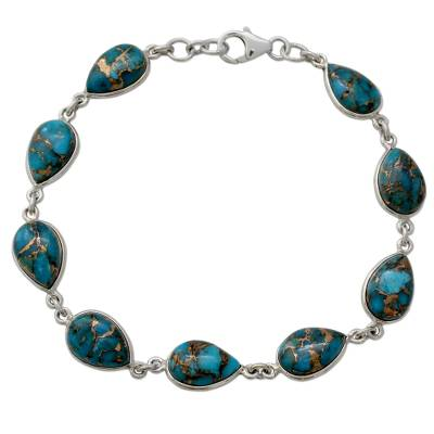 Blue Teardrop Composite Turquoise and Silver 925 Bracelet