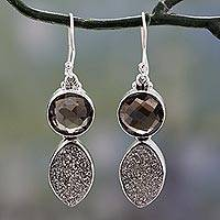 Drusy and smoky quartz dangle earrings, 'Stormy Night' - Sterling Silver Dangle Earrings with Drusy and Smoky Quartz