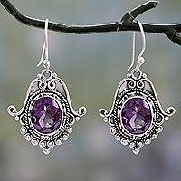 Amethyst dangle earrings, 'Jaipuri Glam' - Ornate Amethyst and Sterling Silver Dangle Earrings