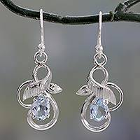 Blue topaz dangle earrings, 'Sky Vines' - Blue Topaz and Sterling Silver Leaf Motif Dangle Earrings