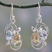 Blue topaz and citrine dangle earrings, 'Sun and Sky' - Blue Topaz and Citrine Dangle Earrings with Leaf Motif