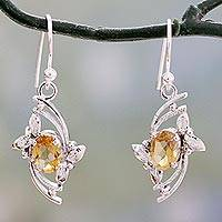 Citrine dangle earrings, 'Golden Splendor' - Leaf Theme Dangle Earrings with One Carat Citrine Gems