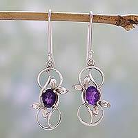 Amethyst dangle earrings, 'Infinite Blossoms' - Amethyst Dangle Earrings in Rhodium Plated Sterling Silver