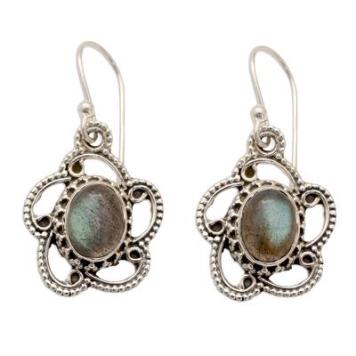Labradorite Dangle Earrings in Sterling Silver Settings