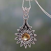 Citrine pendant necklace, 'Star of Jaipur' - Three Carat Citrine and Sterling Silver Pendant Necklace