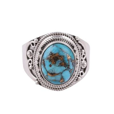Sterling silver cocktail ring, 'Golden Blue Delight' - Sterling Silver Blue Composite Turquoise Cocktail Ring