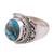 Sterling silver cocktail ring, 'Golden Blue Delight' - Sterling Silver Blue Composite Turquoise Cocktail Ring (image 2d) thumbail