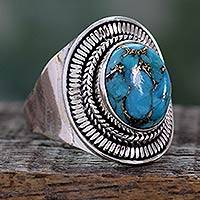 Sterling silver cocktail ring, 'Blue Bayou' - Sterling Silver and Composite Turquoise Cocktail Ring