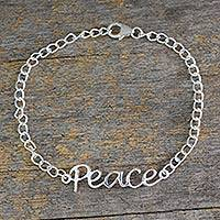 Sterling silver pendant bracelet, 'Remembrance of Peace' - Artisan Crafted Sterling Silver Bracelet with Peace Theme