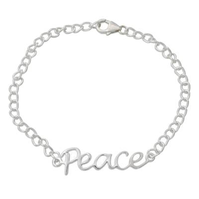 Artisan Crafted Sterling Silver Bracelet with Peace Theme