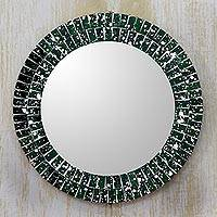 Glass mosaic mirror, 'Emerald Cosmos' - Artisan Crafted Round Green Glass Mosaic Mirror
