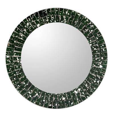 Artisan Crafted Round Green Glass Mosaic Mirror