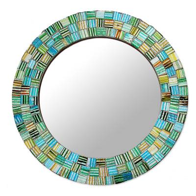 Artisan Crafted Round Glass Mosaic Mirror in Aqua