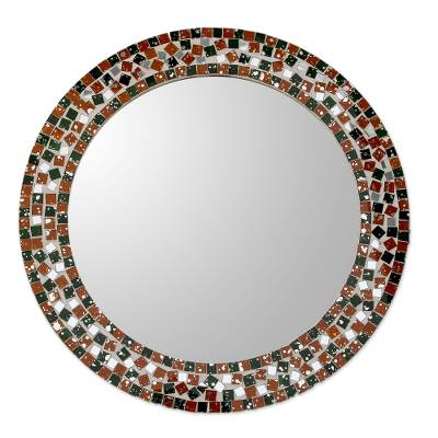 Artisan Crafted Round Wall Mirror with Glass Mosaic Frame