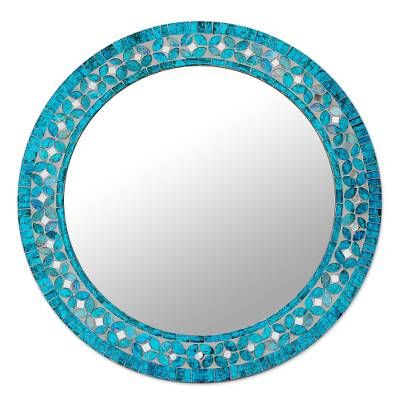 Glass mosaic wall mirror, 'Turquoise Blossom' - Round Turquoise Glass Mosaic Tile Mirror with Flower Motif