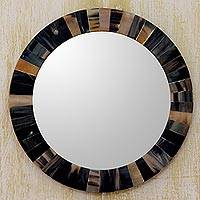 Buffalo horn wall mirror, 'Natural Melange' - Unique Round Wall Mirror Tiled with Buffalo Horn