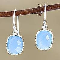 Chalcedony dangle earrings, 'Delhi Sky' - Blue Chalcedony Dangle Earrings in Polished 925 Silver