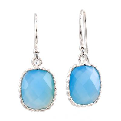 Hand Crafted Blue Chalcedony Silver Dangle Earring