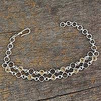 Citrine link bracelet, 'Golden Circles' - Artisan Crafted Sterling Silver and Citrine Link Bracelet