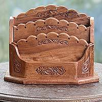 Wood letter rack, 'Floral Blossom' - Hand Carved Walnut Wood Letter Rack with Floral Motif