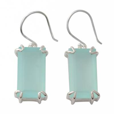 Handmade Chalcedony Dangle Earrings from India