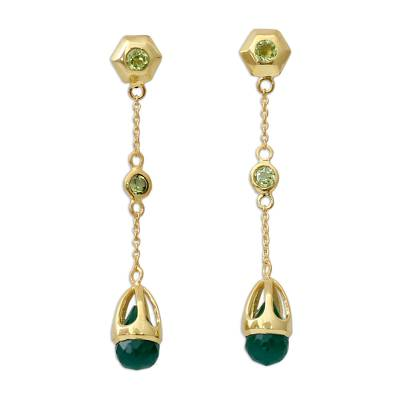 Handcrafted Green Onyx and Peridot 18k Gold Vermeil Earrings