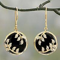 Onyx and cubic zirconia dangle earrings, 'Shining Embrace' - Black Onyx and Cubic Zirconia Circular Dangle Earrings
