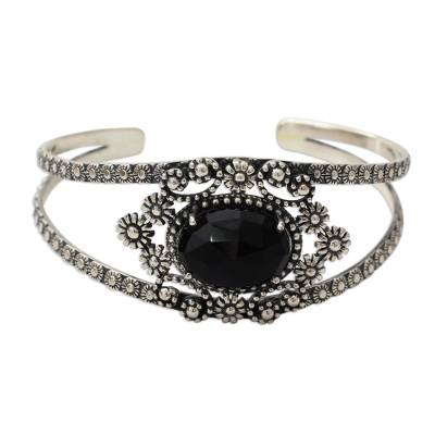Handcrafted Floral Silver 925 and Onyx Cuff Bracelet