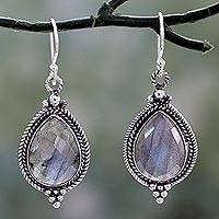Labradorite dangle earrings, 'Romantic Dew Drops' - Handmade Labradorite Dangle Earrings from India