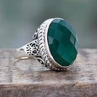Green onyx cocktail ring, 'Bold Charm' - Green Onyx and Sterling Silver Ring from India