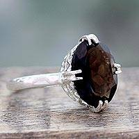 Smoky quartz solitaire ring, 'Enchanting Mystique' - Sterling Silver and 4.5 Carat Smoky Quartz Solitaire Ring