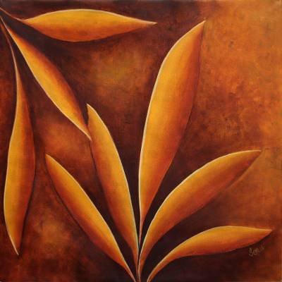 Original Signed Painting of Leaves in Sunset Tones