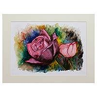 'Romantic Roses' - Flower Portrait Original Signed Watercolor Painting