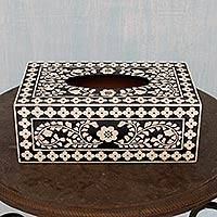 Wood tissue box cover, 'Midnight Garden' - Hand Painted Wood Black and White Floral Tissue Box Cover