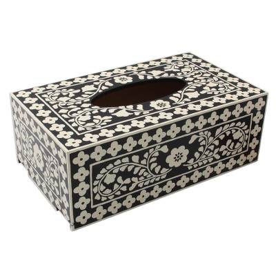 Hand Painted Wood Black and White Floral Tissue Box Cover