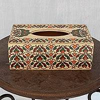 Wood tissue box cover, 'Bangalore Arbor' - Brown Orange and Green Floral Wood Tissue Box Cover