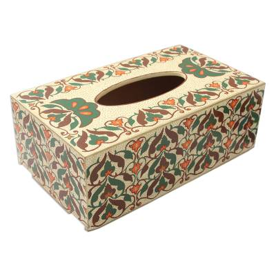 Brown Orange and Green Floral Wood Tissue Box Cover
