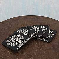 Wood coaster set, 'Tree of Life' (set of 6) - Warli Style Wood Coaster Set in Black and White (Set of 6)