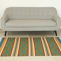 Wool area rug, 'Blue Diamonds' (4x6) - Handmade Multicolored Wool Rug with Fringe from India (4x6)