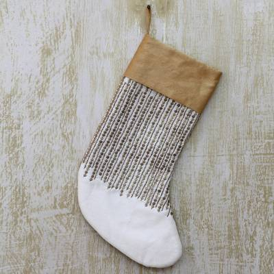 Beaded Christmas stocking, 'Golden Christmas' - Embellished Ivory Christmas Stocking with Beads and Sequins