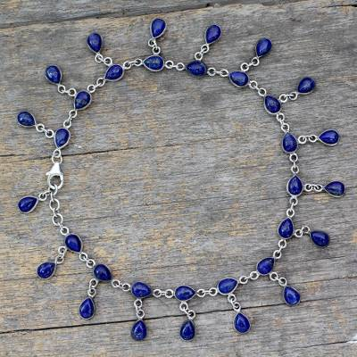 Lapis lazuli anklet, 'Royal Dewdrops' - Lapis Lazuli and 925 Silver Anklet from Indian Artisan