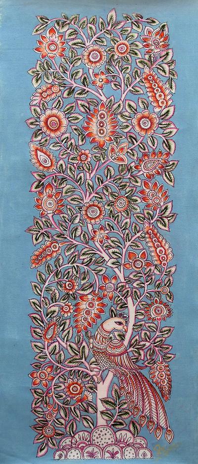 Hand Painted Kalamkari Artwork of Tree with Peacock