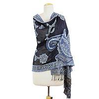 Wool shawl, 'Royal Paisleys' - Indian Embroidered Blue Wool Shawl with Paisley Motif