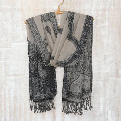 Wool shawl, 'Twilight Muse' - Wool Embroidered Shawl with Paisley Motif from India