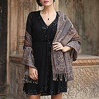 Wool shawl, 'Earthy Allure' - Wool Embroidered Indian Shawl with Floral and Paisley Motif