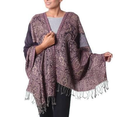 Wool shawl, 'Kashmiri Valley' - Indian Wool Jamawar Style Shawl Floral and Paisley Motif