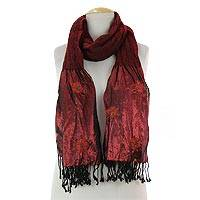 Wool blend scarf, 'Seductive Floral' - Red Women's Woolen Floral Scarf with Beads from India